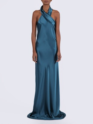 Satin Halter Evening Dress
