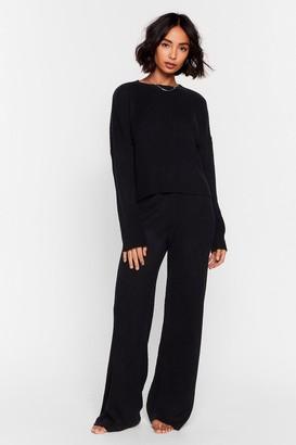 Nasty Gal Womens Knit Alone Jumper and Wide-Leg Lounge Set - Black - S, Black
