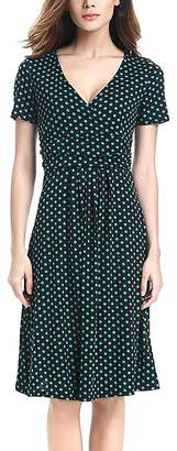 Deli.S Women's Casual Dresses Black - Black & Green Polka Dot Banded-Waist Surplice Dress - Women