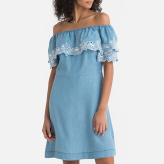 Pepe Jeans Tati Floral Embroidered Shift Dress with Off-the-Shoulder Neck