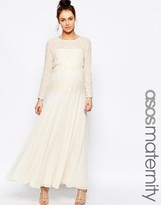 Asos Maxi Dress With Delicate Lace Panel