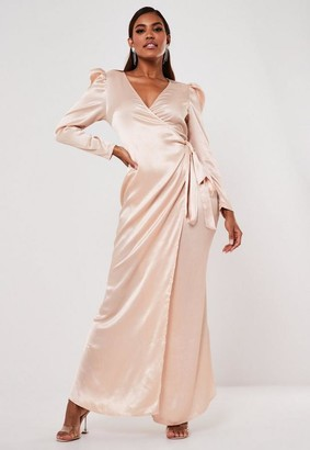 Missguided Champagne Satin Puff Sleeve Wrap Maxi Dress