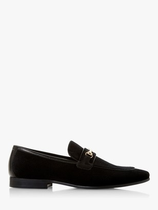 Dune Starfish Snaffle Trim Velvet Loafers, Black