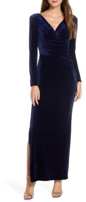 Eliza J Long Sleeve Ruched Velvet Gown