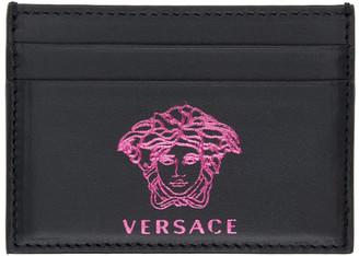 Versace Black and Pink Pop Medusa Card Holder
