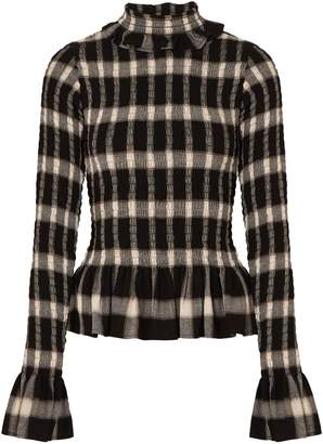 MM6 MAISON MARGIELA Shirred Checked Crepe Turtleneck Top