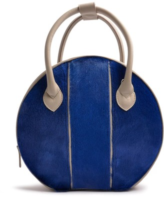 Ostwald Finest Couture Bags Circle Soft Medium In Grey & Royal Blue
