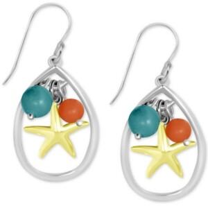 Kona Bay Starfish & Bead Teardrop Earrings in Fine Silver-Plate