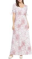 Gal Meets Glam Brigitte Floral Print Tie Cuff Maxi Dress