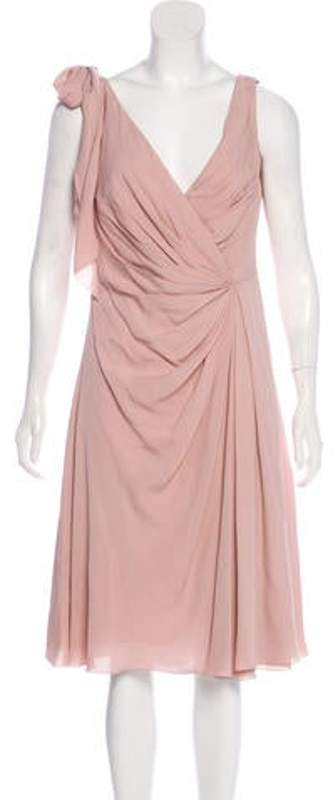 Valentino Silk Bow-Accented Dress Mauve Silk Bow-Accented Dress