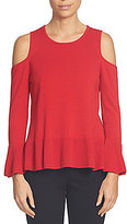 CeCe Round Neck Ruffled Hem Cold-Shoulder Knit Jersey Sweater