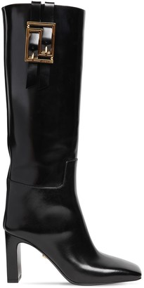 Versace 85mm Brushed Leather Tall Boots