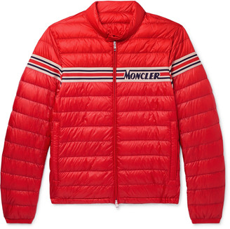 Moncler Slim-Fit Striped Jacquard-Trimmed Quilted Shell Down Jacket - Men - Red