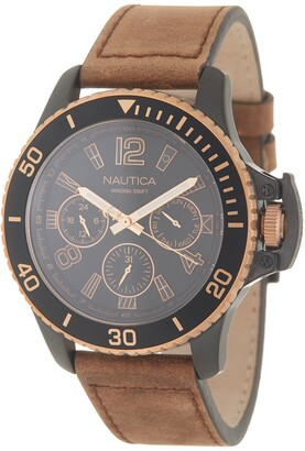 Nautica Men's Bayside Leather Strap Watch, 45mm