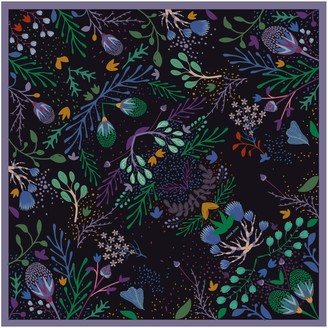 Jessie Zhao New York Double Sided Silk Scarf Of Night Dreaming Of Garden