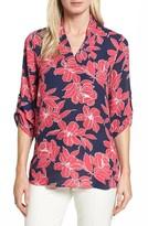 Chaus Women's Flower Print Roll Sleeve Blouse