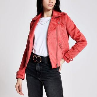 River Island Pink suedette quilted biker jacket
