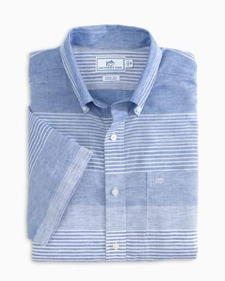 Southern Tide Variegated Striped Short Sleeve Button Down Shirt