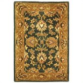 Safavieh Heritage Collection HG628A Handmade Dark Green and Gold Wool Area Rug, 2 feet by 3 feet