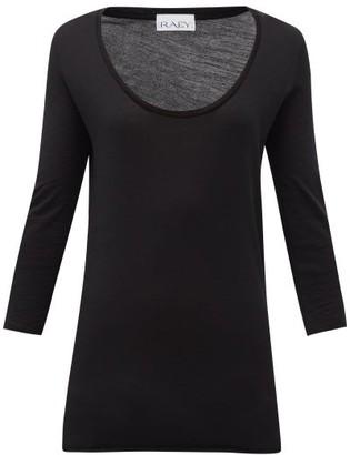 Raey Scoop-neck Wool-jersey T-shirt - Womens - Black