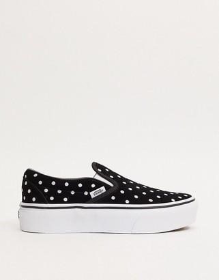 Vans Classic Slip-On Platform suede sneakers in polka dot