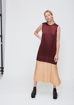 Toga Dark Red Satin Dress With Pleated Skirt