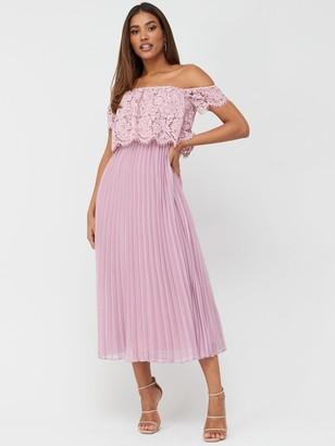 Very Lace Bardot Pleated Skirt Prom Dress - Mauve