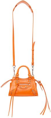 Balenciaga Orange Croc Nano Neo Classic Top Handle Bag