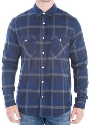 No Retreat Men's Long Sleeve Brushed Plaid Shirt with Double Chest Flap Pockets