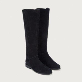 The White Company Suede High Leg Stretch Boots, Black, 36