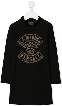 Versace Studded Logo Dress