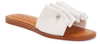 1 STATE 1.State Fann Ruched Leather Slide Sandal