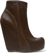 Rick Owens Calf hair wedge ankle boots