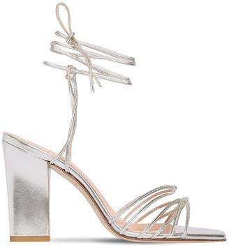 AEYDĒ 95mm Daisy Metallic Leather Sandals