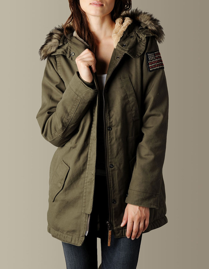 True Religion Womens Military Parka Jacket W/Faux Fur Hood