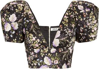 AMUR Sedona Floral Puff Sleeve Crop Top