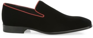 Saks Fifth Avenue COLLECTION Piping-Trim Velvet Loafers