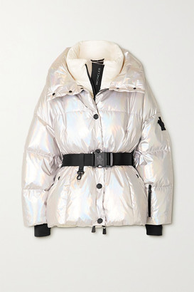 MONCLER GRENOBLE Ollignan Hooded Belted Quilted Iridescent Down Ski Jacket - Silver
