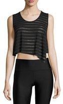 Alo Yoga Easy Cropped Muscle Tank Top, Black Stripe/Black