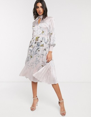 Ted Baker doxie everglade floral midi dress in pink