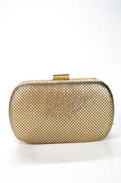Whiting & Davis Gold Tone Metallic Gilded Lattice Clutch New $188 90041406