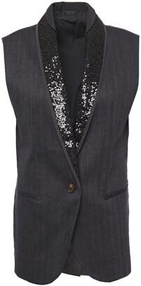 Brunello Cucinelli Embellished Satin-trimmed Herringbone Cotton-blend Vest