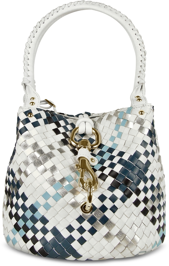 Fontanelli Blue & White Woven Leather Mini Bag