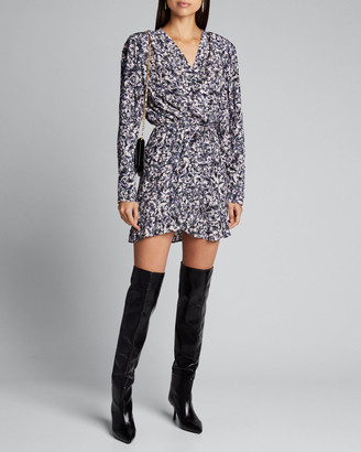 IRO Brasey Abstract Print Jersey Long-Sleeve Dress