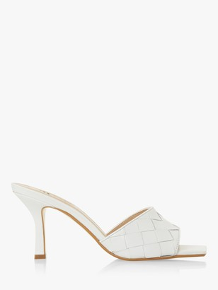 Dune Montreal Woven Square Toe Heeled Mule Sandals