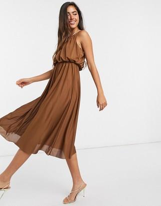 ASOS DESIGN cami plunge midi dress with blouson top in chocolate
