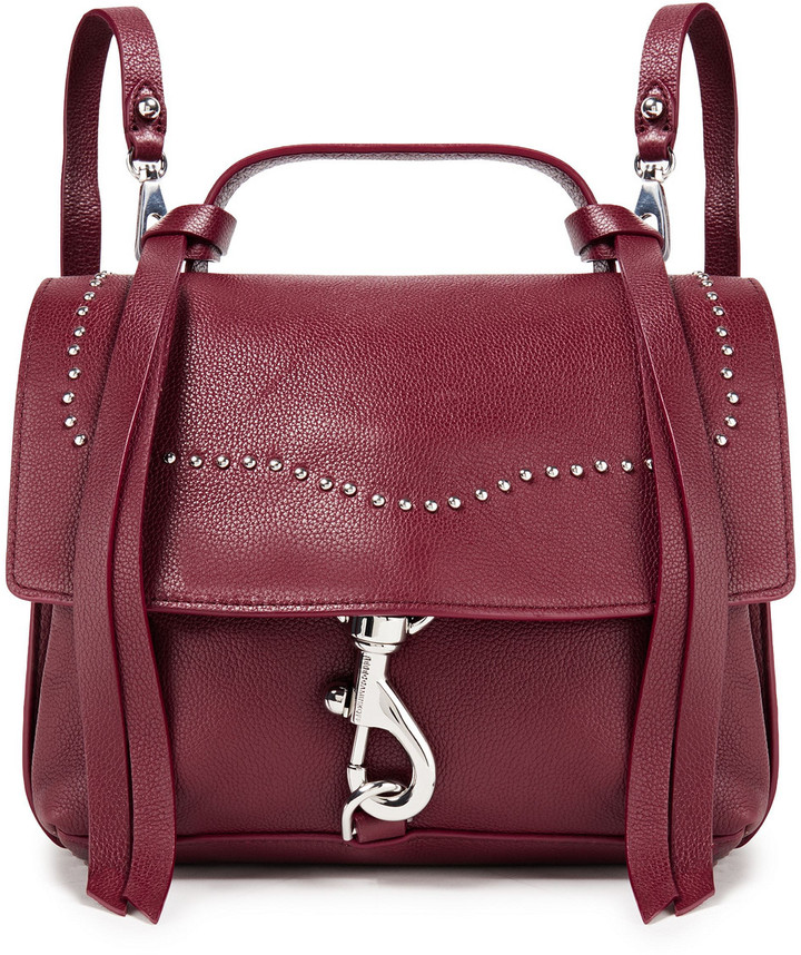 Rebecca Minkoff Stella Convertible Studded Pebbled-leather Backpack