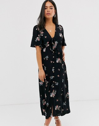 New Look tie front button down dress in floral print