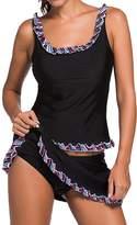Pandolah Women's Two Piece Tankini Lace Trim Flower Swimwear Swimsuit Skirt