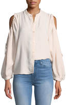 7 For All Mankind Button-Down Cold-Shoulder Top